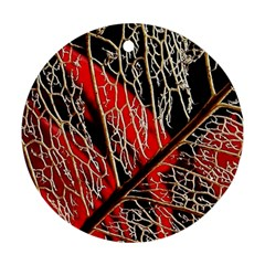 Leaf Pattern Round Ornament (two Sides) by BangZart