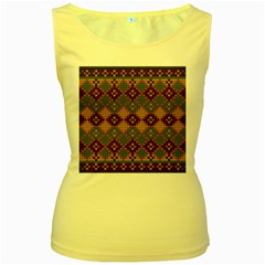 Knitted Pattern Women s Yellow Tank Top