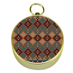 Knitted Pattern Gold Compasses by BangZart