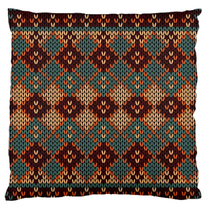 Knitted Pattern Large Flano Cushion Case (Two Sides)