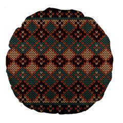 Knitted Pattern Large 18  Premium Flano Round Cushions by BangZart