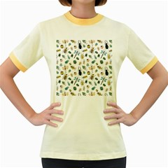 Insect Animal Pattern Women s Fitted Ringer T Shirts