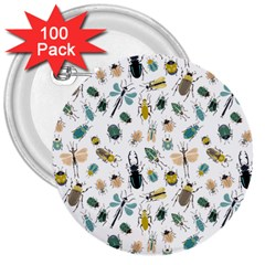 Insect Animal Pattern 3  Buttons (100 Pack)