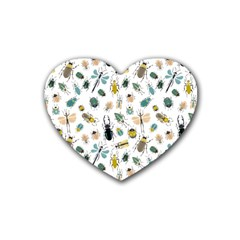 Insect Animal Pattern Rubber Coaster (heart)  by BangZart