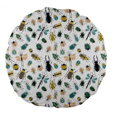 Insect Animal Pattern Large 18  Premium Flano Round Cushions by BangZart