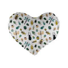 Insect Animal Pattern Standard 16  Premium Flano Heart Shape Cushions by BangZart