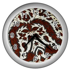 Javanese Batik Wall Clocks (silver)  by BangZart