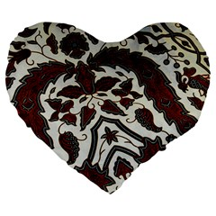 Javanese Batik Large 19  Premium Heart Shape Cushions by BangZart