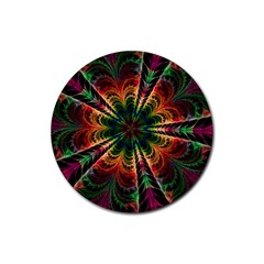 Kaleidoscope Patterns Colors Rubber Round Coaster (4 Pack)