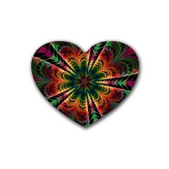 Kaleidoscope Patterns Colors Rubber Coaster (heart)  by BangZart