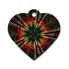 Kaleidoscope Patterns Colors Dog Tag Heart (two Sides)