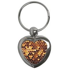 Honey Honeycomb Pattern Key Chains (heart)