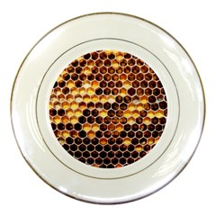 Honey Honeycomb Pattern Porcelain Plates by BangZart