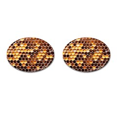 Honey Honeycomb Pattern Cufflinks (oval)