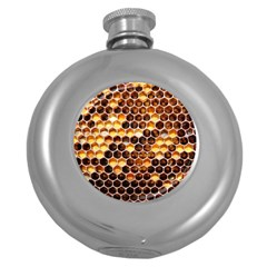 Honey Honeycomb Pattern Round Hip Flask (5 Oz)