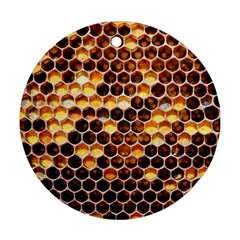 Honey Honeycomb Pattern Round Ornament (two Sides)