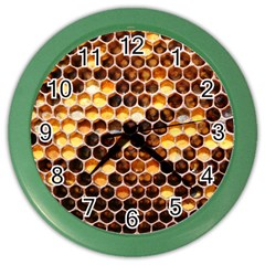 Honey Honeycomb Pattern Color Wall Clocks by BangZart
