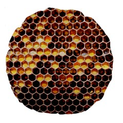 Honey Honeycomb Pattern Large 18  Premium Flano Round Cushions by BangZart