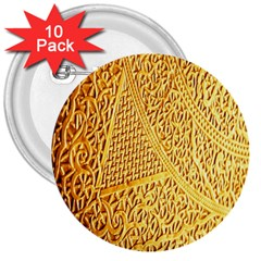 Gold Pattern 3  Buttons (10 Pack)