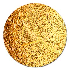 Gold Pattern Magnet 5  (round) by BangZart