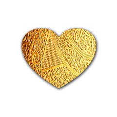 Gold Pattern Rubber Coaster (heart)  by BangZart