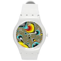 Fractals Random Bluray Round Plastic Sport Watch (m) by BangZart