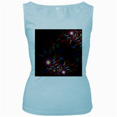 Fractal Swirls Women s Baby Blue Tank Top