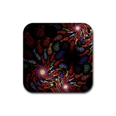 Fractal Swirls Rubber Square Coaster (4 Pack)  by BangZart