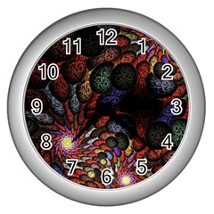 Fractal Swirls Wall Clocks (silver)  by BangZart