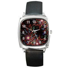 Fractal Swirls Square Metal Watch by BangZart