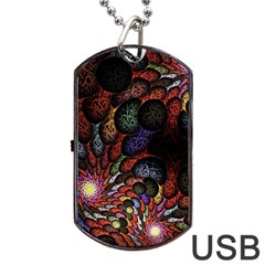Fractal Swirls Dog Tag Usb Flash (one Side) by BangZart