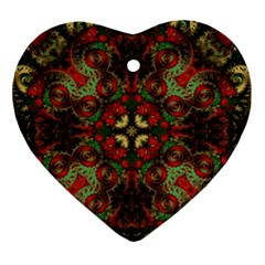 Fractal Kaleidoscope Ornament (heart) by BangZart