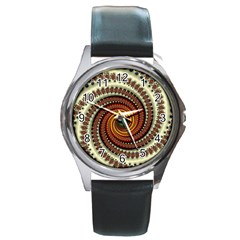 Fractal Pattern Round Metal Watch