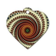 Fractal Pattern Dog Tag Heart (two Sides)