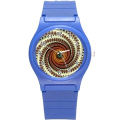 Fractal Pattern Round Plastic Sport Watch (s) by BangZart