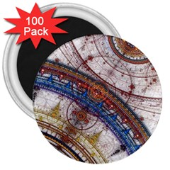 Fractal Circles 3  Magnets (100 Pack)