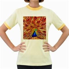 Fractal Peacock Art Women s Fitted Ringer T Shirts