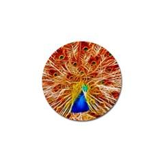 Fractal Peacock Art Golf Ball Marker