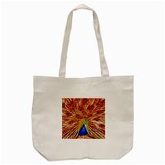 Fractal Peacock Art Tote Bag (cream) by BangZart