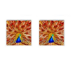 Fractal Peacock Art Cufflinks (square) by BangZart