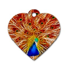 Fractal Peacock Art Dog Tag Heart (two Sides)