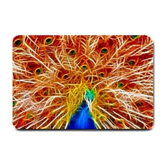 Fractal Peacock Art Small Doormat  by BangZart