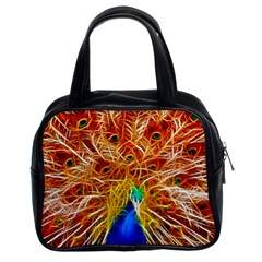 Fractal Peacock Art Classic Handbags (2 Sides) by BangZart