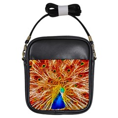 Fractal Peacock Art Girls Sling Bags by BangZart