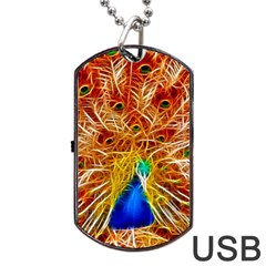 Fractal Peacock Art Dog Tag Usb Flash (one Side)