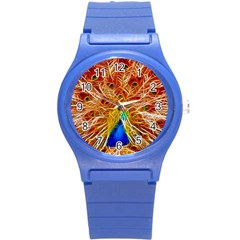 Fractal Peacock Art Round Plastic Sport Watch (s) by BangZart