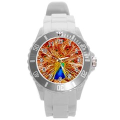 Fractal Peacock Art Round Plastic Sport Watch (l) by BangZart