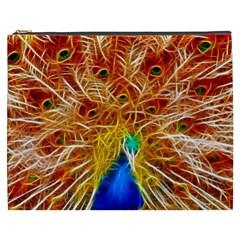 Fractal Peacock Art Cosmetic Bag (xxxl)  by BangZart