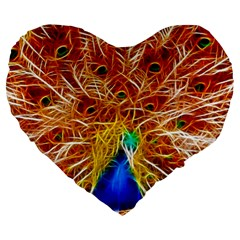 Fractal Peacock Art Large 19  Premium Heart Shape Cushions by BangZart