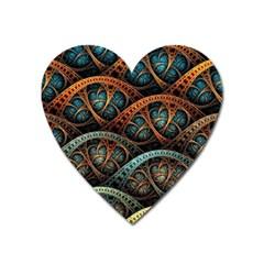 Fractal Art Pattern Flower Art Background Clored Heart Magnet by BangZart